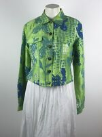Sandy Starkman Iridescent Sequin Yoke Silk Button Down Jacket Green Blue India M