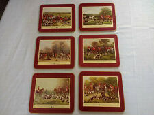 Vintage Set of 6 English Traditional Fox Hunt Cork Place Mats Placemats