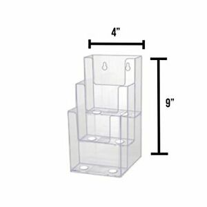 4-Inch Wide 3 Tier Premium Trifold Acrylic Brochure Holder, Clear