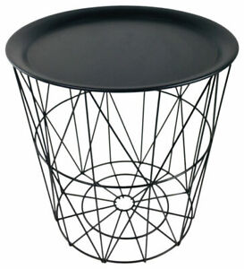 Sil WF2044 Metal 35cm Geometric Wire Side Storage Table with Cover Tray - Black