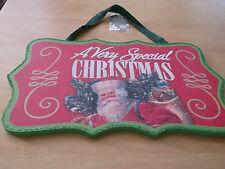 christmas wooden plaque hanging 33cmx 20 x1cm