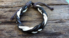 Brown White Leather Mens Womens Bracelet Anklet Wristband