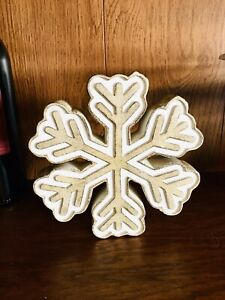 "Christmas wood snowflake home mantel decor Farmhouse rustic shelf sitter 7"""