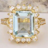 5.15 Carats NATURAL AQUAMARINE and DIAMOND 14K Solid Yellow Gold Ring