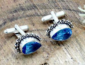 "Handmade 925 Sterling Silver Swiss Blue Topaz Gemstone Jewelry Cuff Links S-1"""