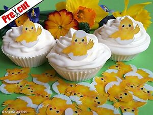 24 X PRE-CUT CUTE EASTER CHICK EDIBLE WAFER PAPER CUP CAKE TOPPERS DECORATIONS