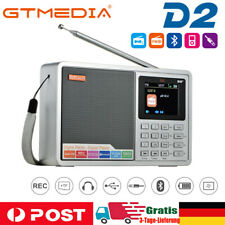 GTMEDIA D2 DAB DAB+ und UKW FM Digital Radio BT Uhr Alarm Akku 2.4'' LCD Display