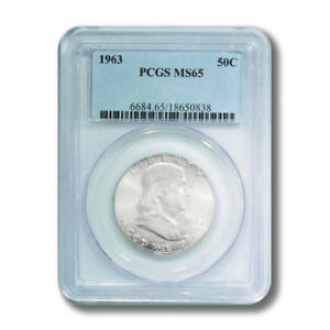 USA Franklin Half 50c 1963  PCGS MS 65