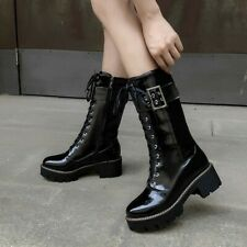 Womens Mid-Calf Boots Punk Strappy Combat Booties Block Mid Heel Side Zip Shoes