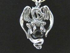 Dragon w/ Black Onyx Ball Sphere STERLING SILVER Gothic Biker Pendant 925 NEW C5