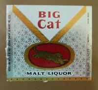 VINTAGE AMERICAN BEER LABEL - PABST BREWERY, BIG CAT MALT LIQUOR 12 FL OZ
