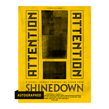 More details for shinedown attention attention signed poster yellow autographed 18x24