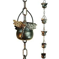 Rain Chain Catcher Decorative Hanging Outdoor Decor Iron Dragonfly Little Bucket