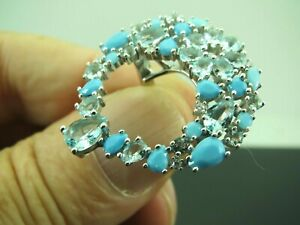 Turkish Handmade Jewelry 925 Sterling Silver Aquamarine Stone Women Ring Sz 6