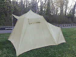 Rare Vintage Canvas Rainier 10 x 13 Umbrella Tent with Sideroom & Awning
