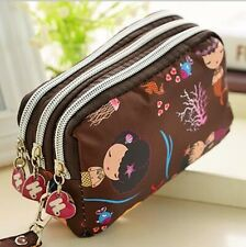 Brown Mermaid  lady Clutch change Coin Purse phone bag Wristlet Wallet