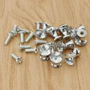 15Pcs Small Crystal Knobs Pulls With Screw Wardrobe Cabinet Drawer Decor 12mm