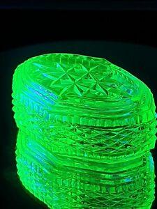 Absolutely Stunning Antique Uranium Glass Lidded Trinket Dish