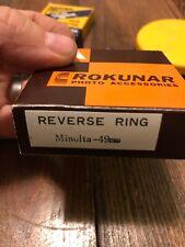 NOS Vtg MINOLTA 49MM REVERSE RING, NEW FACTORY BOXED Rokunar Film Camera