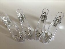 4 x clear plastic SHOES Cindrella SLIPPER Cake TOPPER decorating favours SETTING