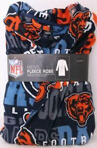 NEW Chicago Bears NFL Team Apparel Sleepwear Black Fleece Bath Robe Men's L