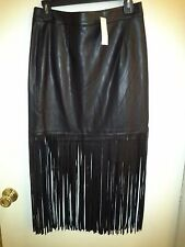 NEW WOMEN'S SUPER SOFT GENUINE LEATHER SKIRT WITH LONG  FRINGE--SIZE SMALL
