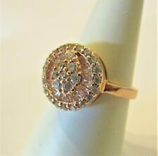 STERLING SILVER ROSE GOLD PLATED FANCY BLING SPARKLY CUBIC ZIRCONIA RING SIZE N