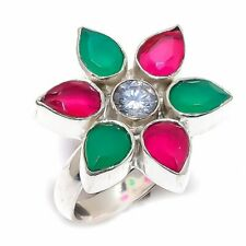 Ruby, Emerald, White Topaz Gemstone 925 Sterling Silver Ring Size 7