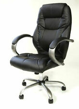 Poltrona ufficio direzionale imbottita sedia con ruote per casa studio eco pelle