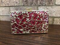 FAWZIYA Red Glitter Formal Gold Floral & Crystal Evening Clutch Crossbody Bag