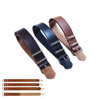 Mens Faux Leather Army Military Watch Strap Band 18/20/22/24mm Black Brown LJAU