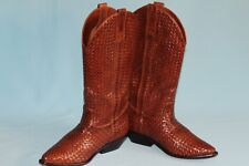 Cole Haan Women's Cowboy Boots Leather Basketweave Style # F2034 7 1/2 B Brown