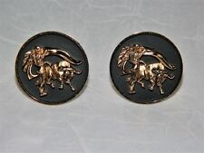 ~ VINTAGE HICKOK CUFF LINKS Pair of (2) BULL FIGHT 3D Relief Designs USA SIGNED