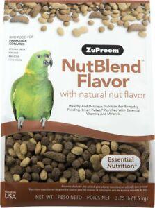 ZuPreem NutBlend with Natural Nut Flavor Parrot & Conure Bird Food, 3.25-lb bag
