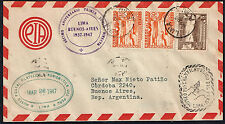 2578 PERU TO ARGENTINA AIR COVER 1947 CONMEMORATION FIRST FLIGHT TO Bs. AIRES