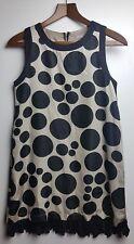 AWear Ladies Beige/Black Large Spot Sleeveless Dress Size UK 8 EU 38