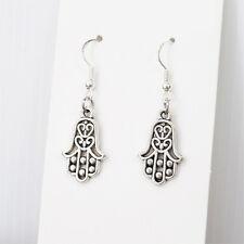 Vintage Silver Hamsa Khamsa Hand Of Fatima Dangle Charm Earrings Sterling Hooks