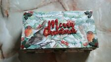 UNIQUE HAND DECORATED OBLONG SHAPED WOODEN BOX - MERRY CHRISTMAS WITH ROBINS