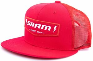 SRAM Since 1987 Flat Bill Mesh Trucker Hat ONE SIZE Red Snap Close Bike Cycling