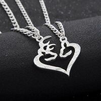 2PC Deer Hunting Buck Doe Animal Pendant Necklace Lover Couple Friends BFF Gifts