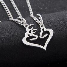 2PCS Deer Pendant Necklace BFF Broken Half Coin Lover Couple Friend Silver Pld