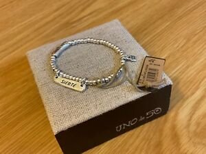 """NWT Uno de 50 Silver-Plated Beaded Stretch Bracelet/""""Wish me Luck"""""""