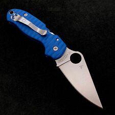 Spyderco Para 3 C223GP  Blue Anso Scale w/ Satin Titanium Screws & Tube