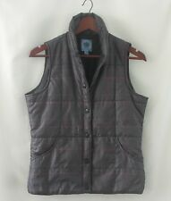 IZOD Gray Black Plaid Quilted Puffer Vest Size Small Jacket Snap Close Excellent