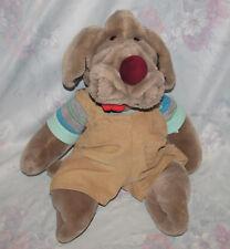 "Wrinkles Plush Brown Dog/Puppy Puppet - 17"" - Large, Vintage - Overalls, Shirt"