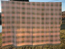 Wool Plaid Peach & Green Blanket Throw Quilt 64 x 71 Vintage