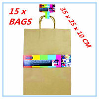 15 X LARGE CRAFT DIY BROWN PAPER GIFT BAGS WITH HANDLE PARTY WRAP WRAPPING A