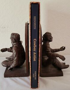 "Joe Beeler sculpture ""Storytellers"" bookends with COA signed 9/50, signed book"