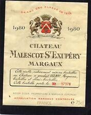 MARGAUX 3E GCC ETIQUETTE CHATEAU MALESCOT ST EXUPERY 1980 NUMEROTEE §21/03/18§