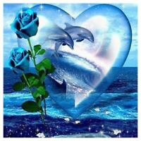 """Full Round Drill 5D DIY Diamond Painting """"Dolphin Rose"""" 3D Embroidery Cross F5N3"""